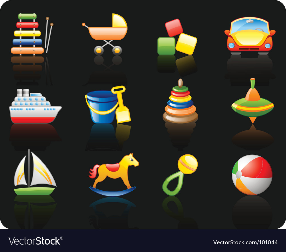 Toys black background icon set vector | Price: 1 Credit (USD $1)