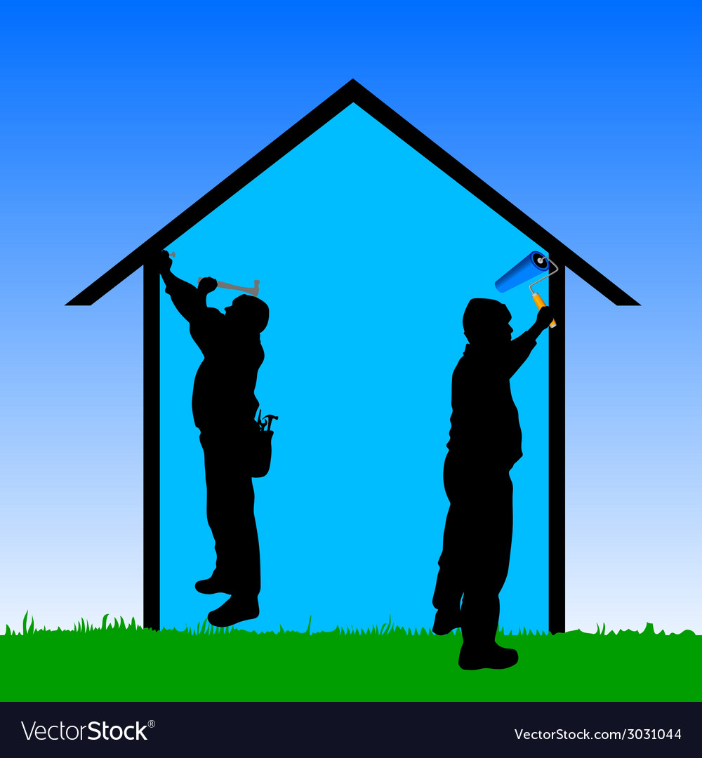 Workers repair the house vector | Price: 1 Credit (USD $1)