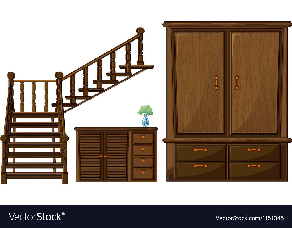 A stair and wooden furnitures vector | Price: 1 Credit (USD $1)