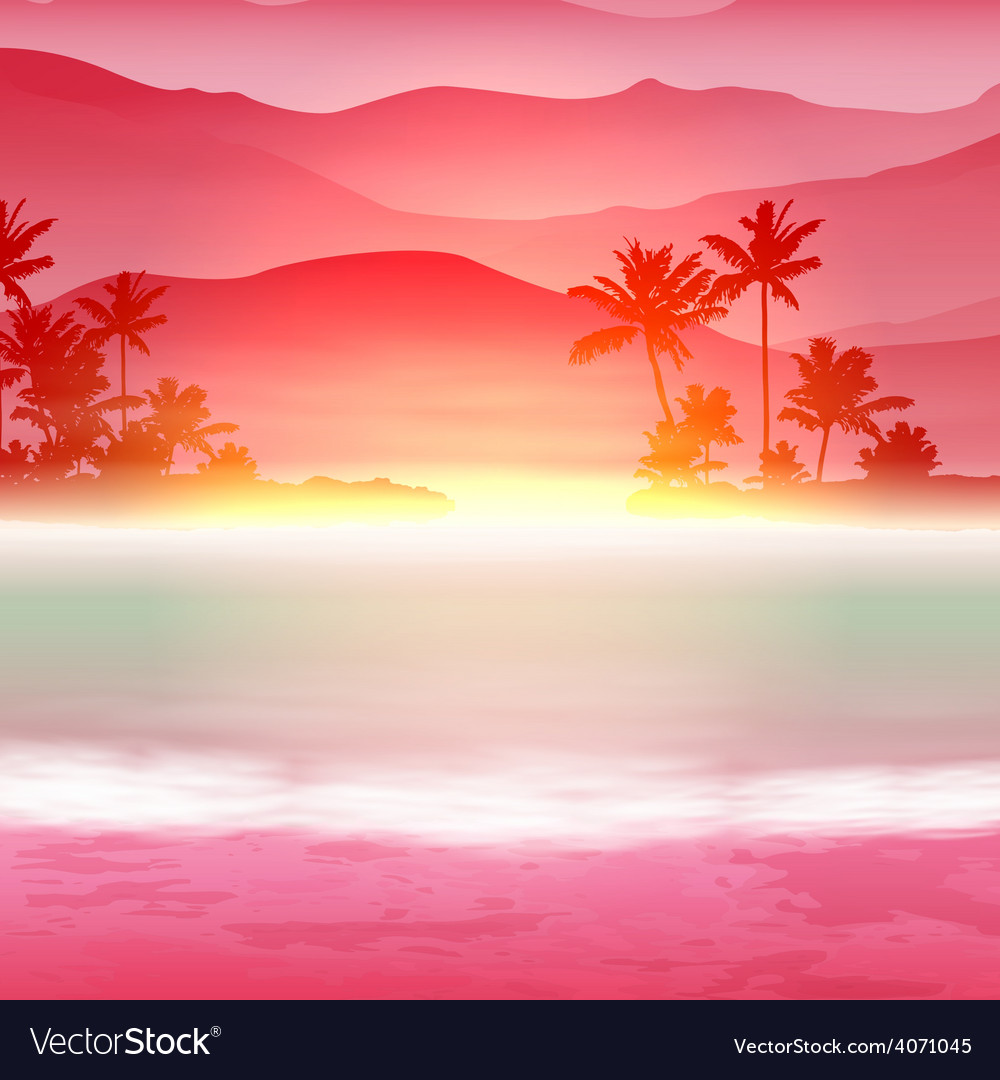 Background with sea and palm trees vector | Price: 1 Credit (USD $1)