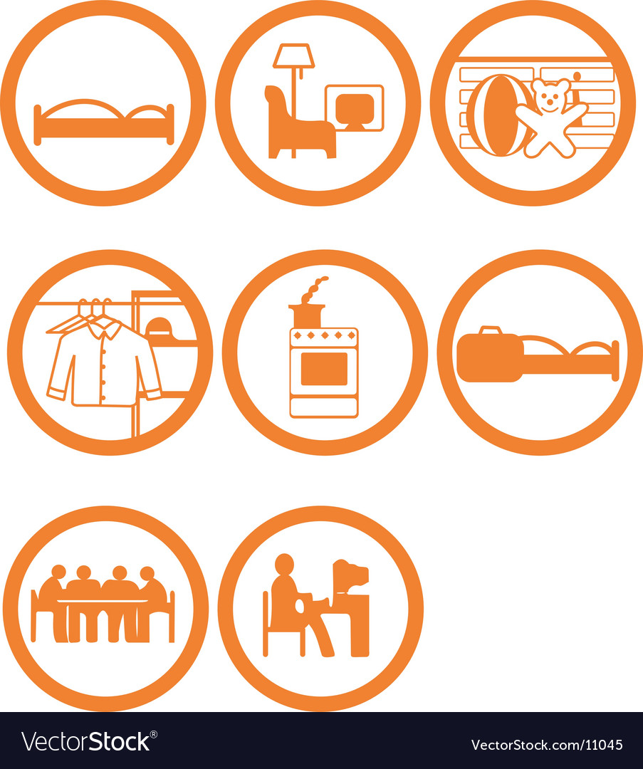 Brand new home rooms icons vector | Price: 1 Credit (USD $1)