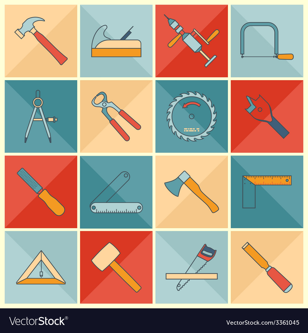 Carpentry tools flat line icons vector | Price: 1 Credit (USD $1)