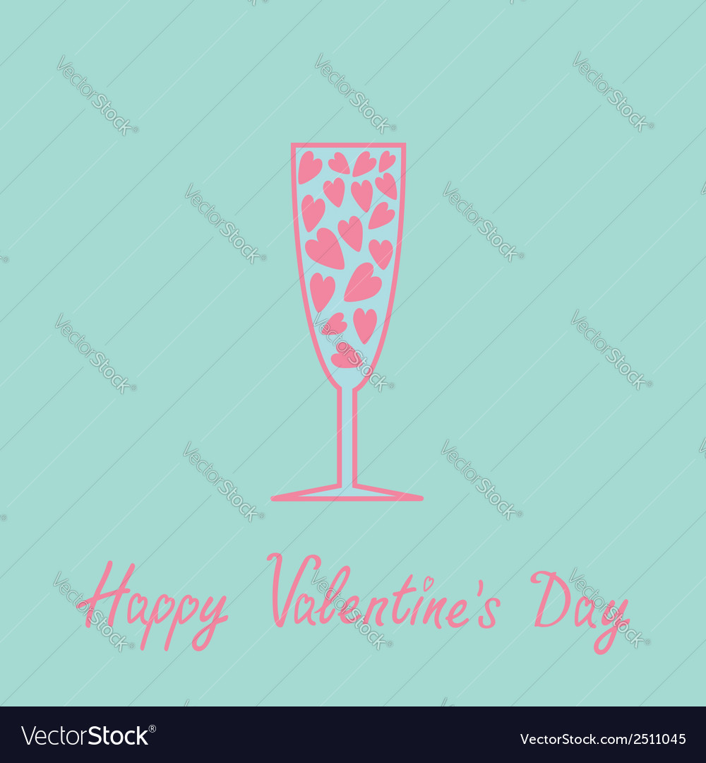 Champagne glass with hearts inside blue and pink vector | Price: 1 Credit (USD $1)