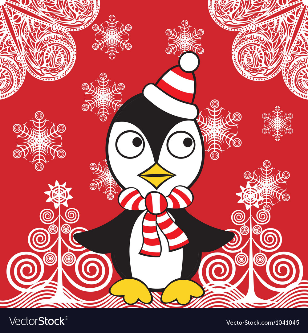 Christmas penguin background vector | Price: 1 Credit (USD $1)