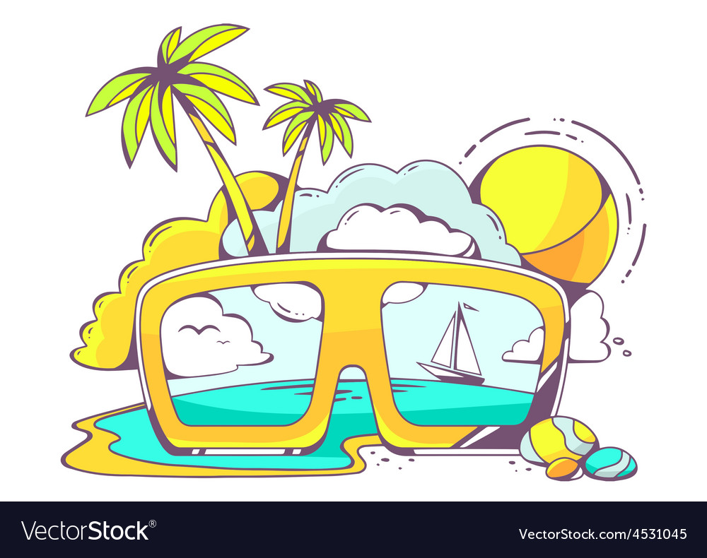 Colored sunglasses with sea view vector | Price: 1 Credit (USD $1)