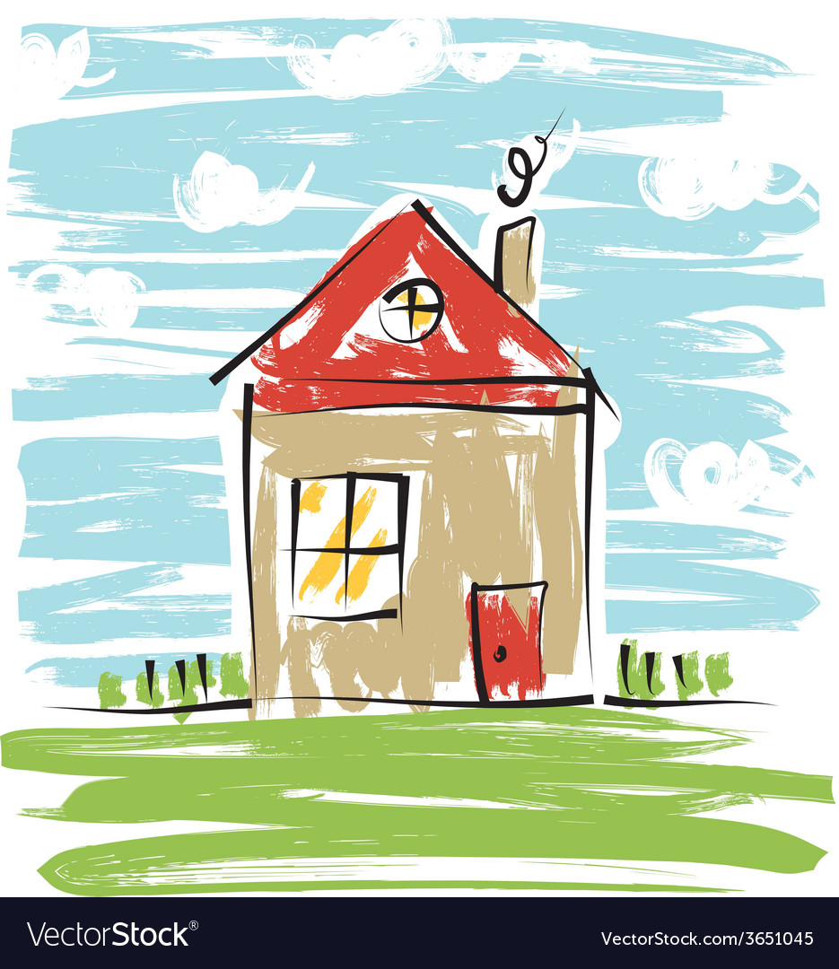 Colorful house kids drawing vector | Price: 1 Credit (USD $1)