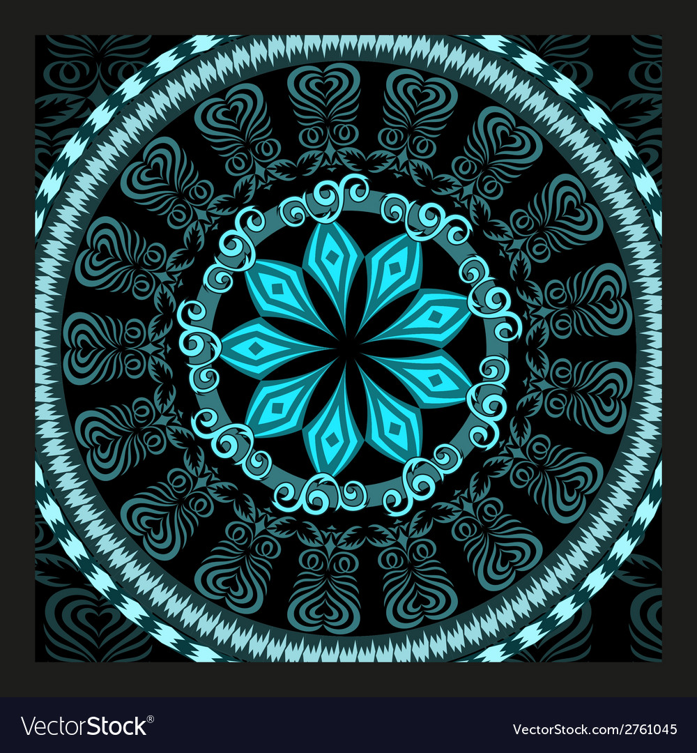 Decorative turquoise pattern card vector | Price: 1 Credit (USD $1)