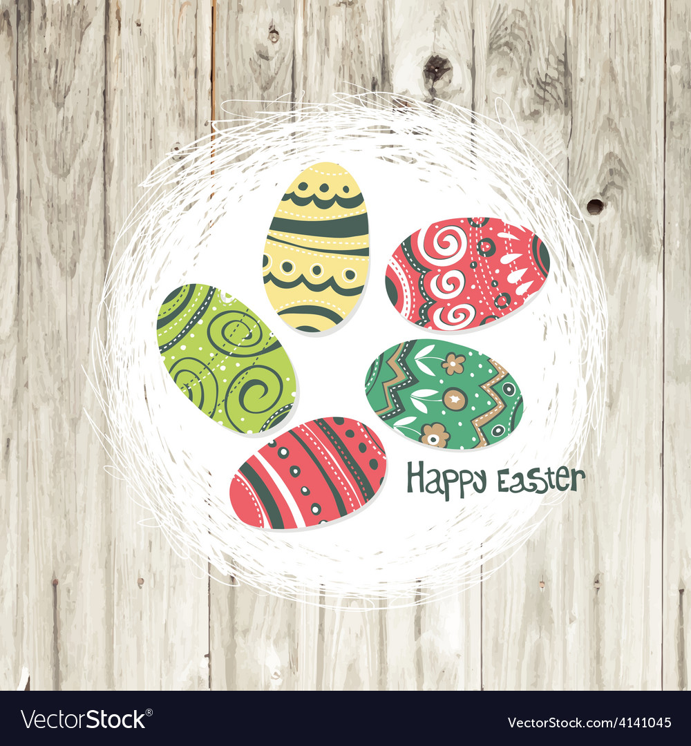 Easter nest on wooden texture vector | Price: 1 Credit (USD $1)