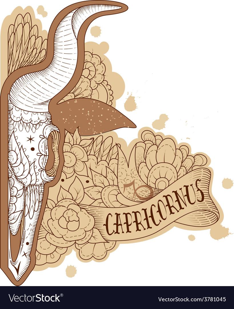 Engraving capricornus vector | Price: 1 Credit (USD $1)