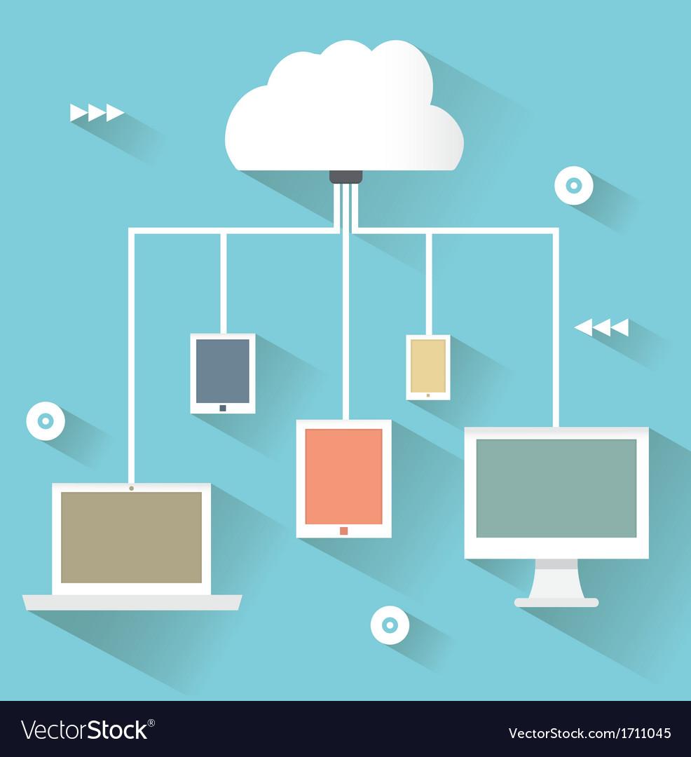 Flat design concept of cloud service vector | Price: 1 Credit (USD $1)