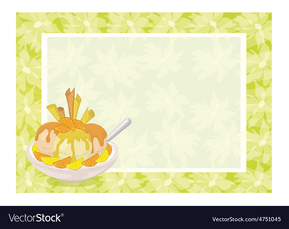 Ice cream citrus waffles and floral background vector | Price: 1 Credit (USD $1)