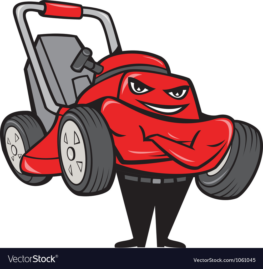 Lawn mower man standing arms folded cartoon vector | Price: 1 Credit (USD $1)