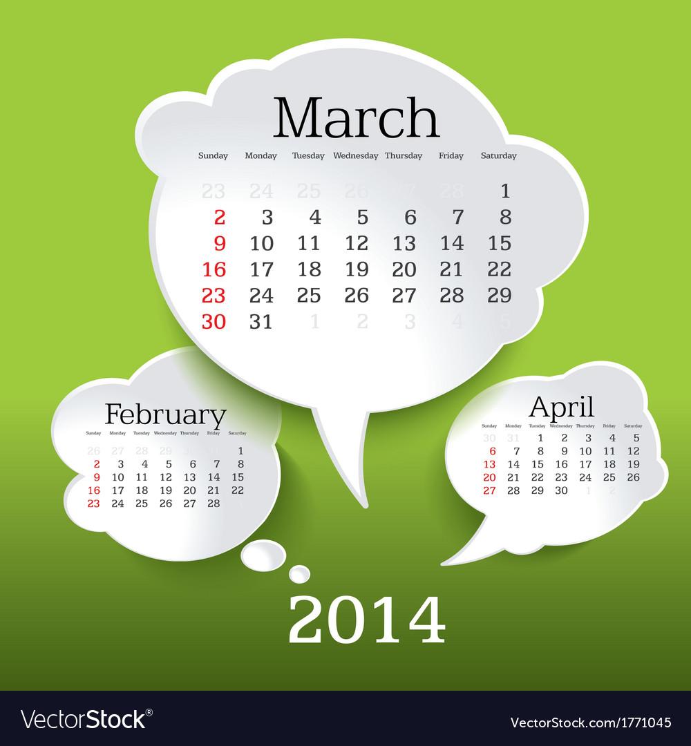 March 2014 bubble speech calendar vector | Price: 1 Credit (USD $1)