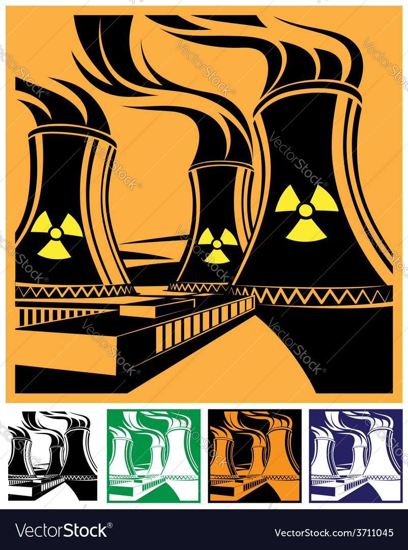 Nuclear power station set vector | Price: 1 Credit (USD $1)