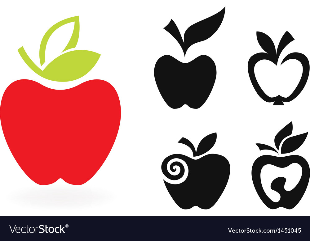 Set of apple icon isolated on white background vector | Price: 1 Credit (USD $1)