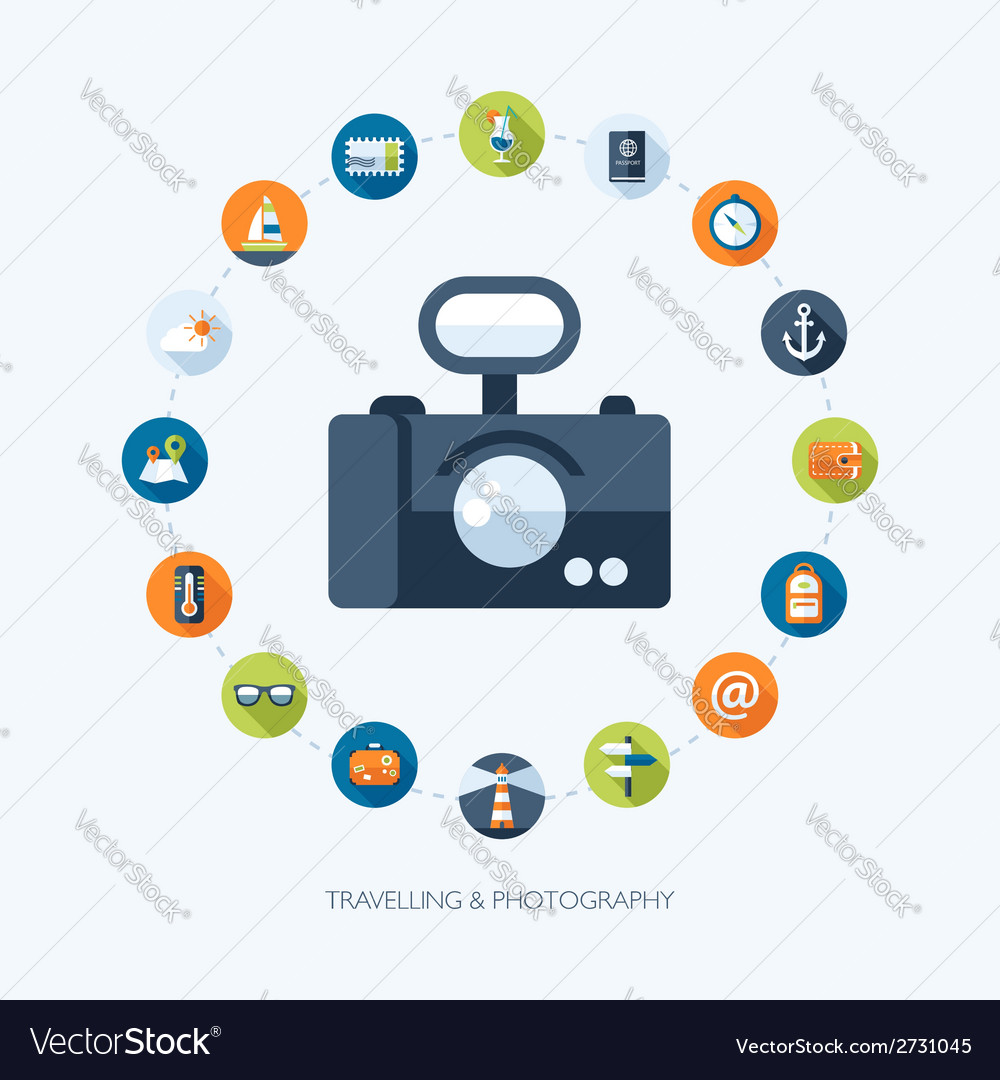 Travel flat design composition with camer vector   Price: 1 Credit (USD $1)