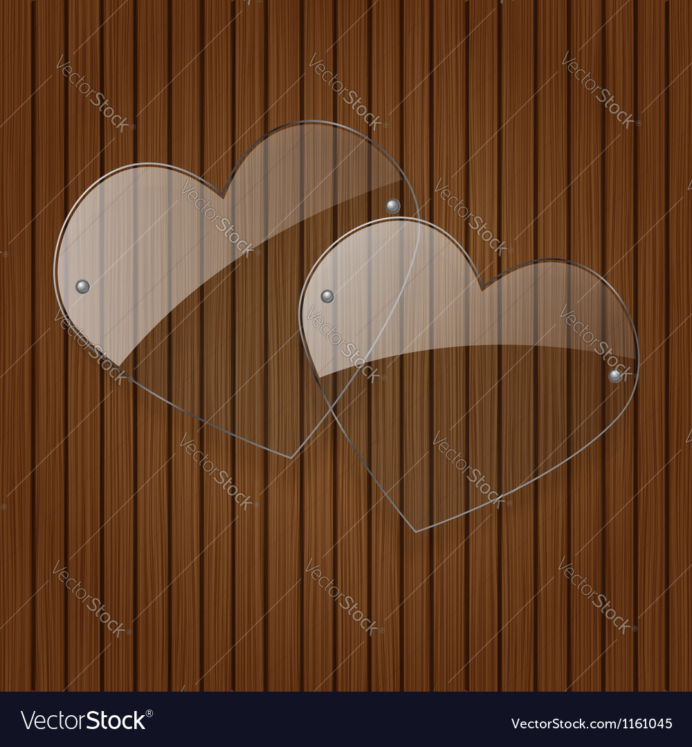 Two glass hearts over wooden background vector | Price: 1 Credit (USD $1)