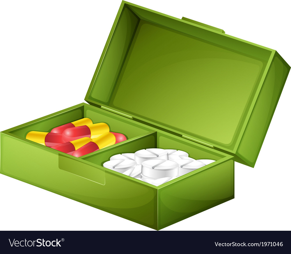A medicine box with tablets and capsules vector | Price: 1 Credit (USD $1)