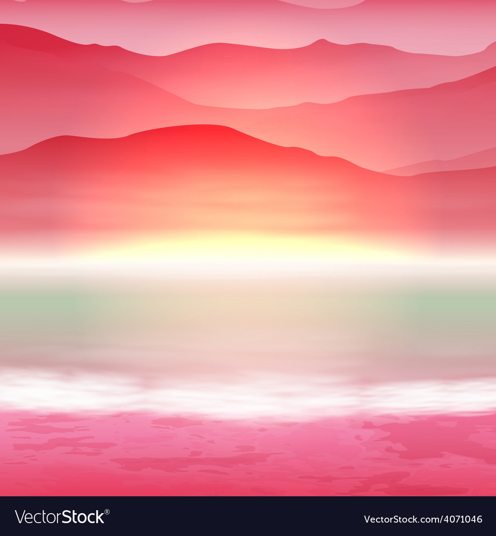 Background with sea and mountain vector | Price: 1 Credit (USD $1)