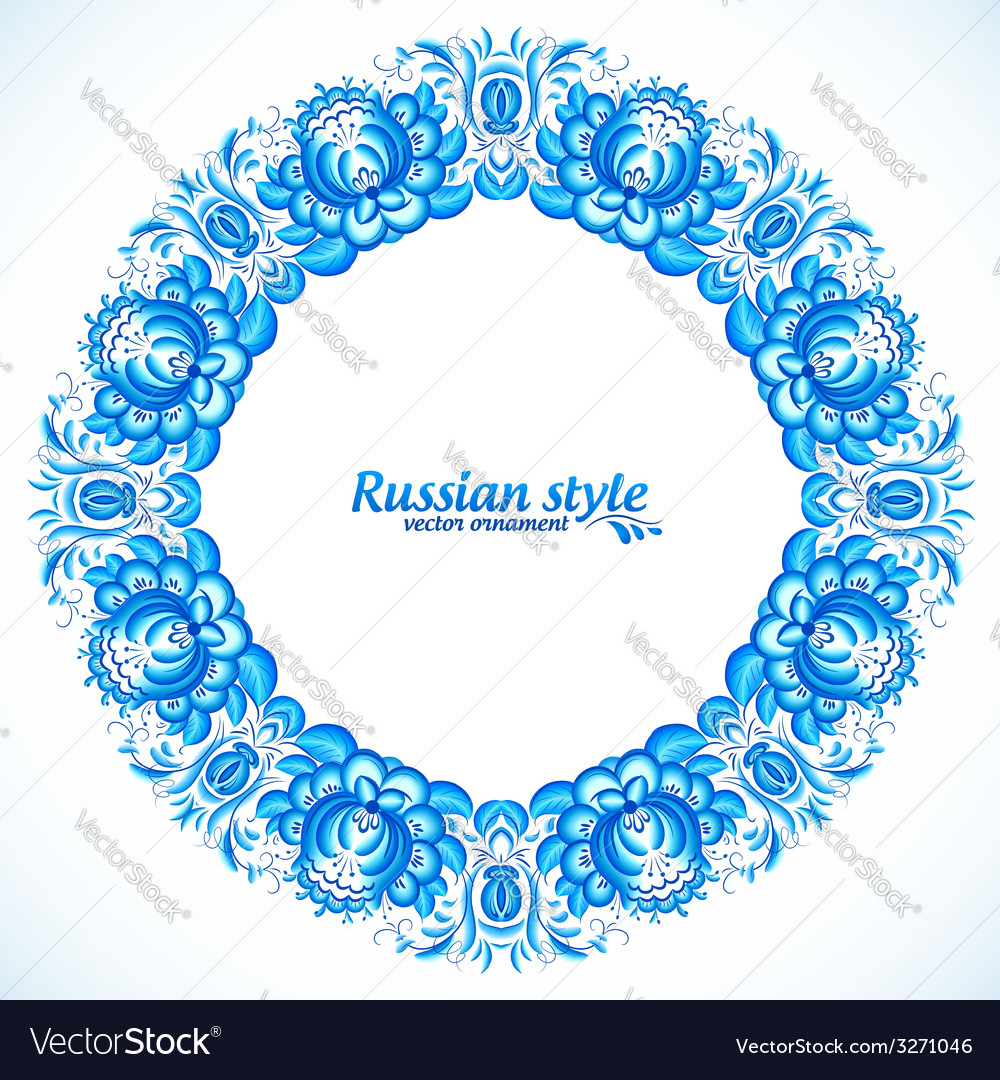 Blue floral round frame in gzhel style vector   Price: 1 Credit (USD $1)