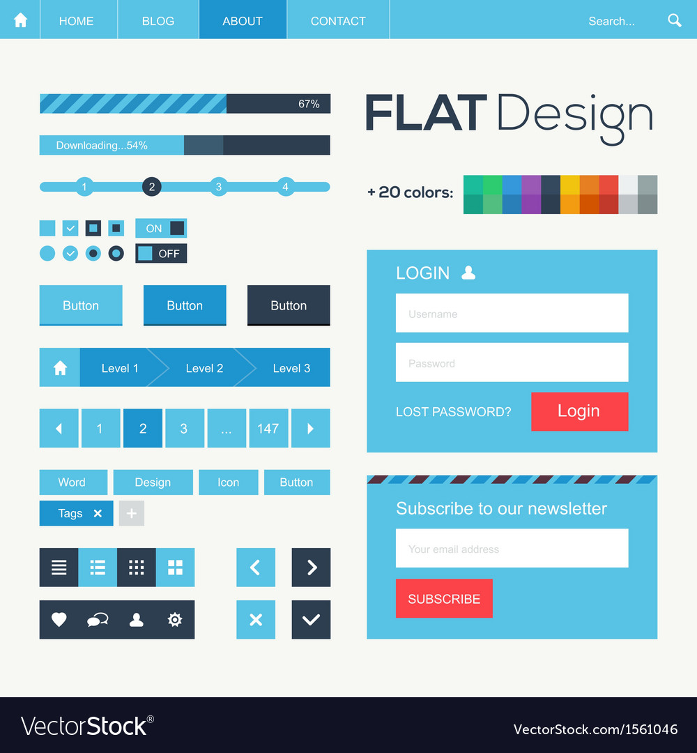 Flat web and mobile design elements buttons icons vector | Price: 3 Credit (USD $3)