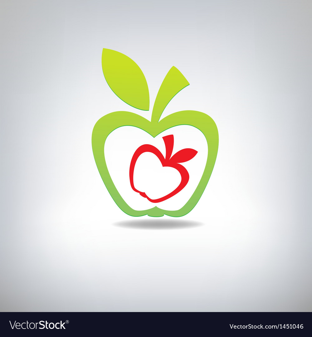 Green and red apple on a grey background vector | Price: 1 Credit (USD $1)