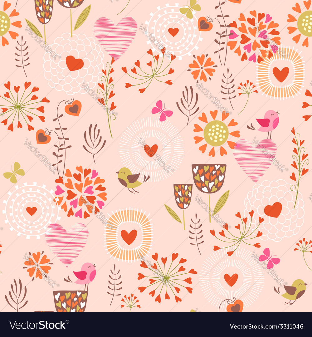 Hearts and flowers pattern vector | Price: 1 Credit (USD $1)