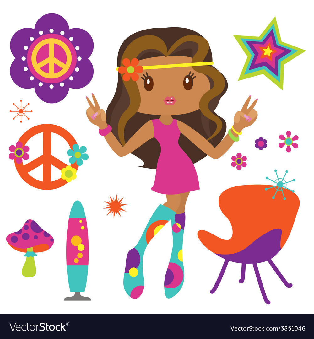 Hippie girl with psychedelic style elements vector | Price: 1 Credit (USD $1)