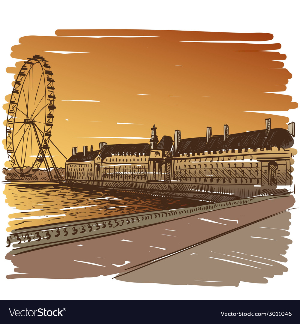 London cityscape drawing vector | Price: 1 Credit (USD $1)