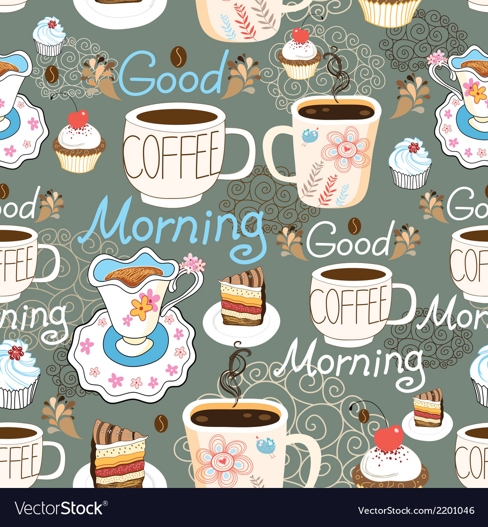 Pattern delicious cup of coffee vector | Price: 1 Credit (USD $1)