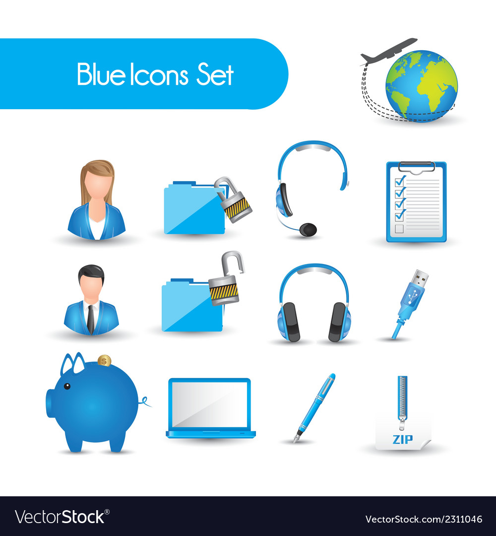Set of blue icons vector | Price: 1 Credit (USD $1)
