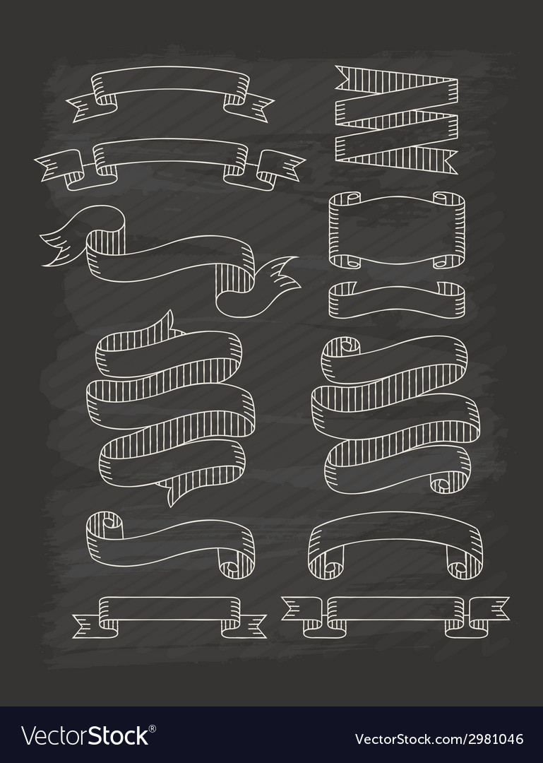 Set of ribbons in vintage style with chalkboard vector | Price: 1 Credit (USD $1)