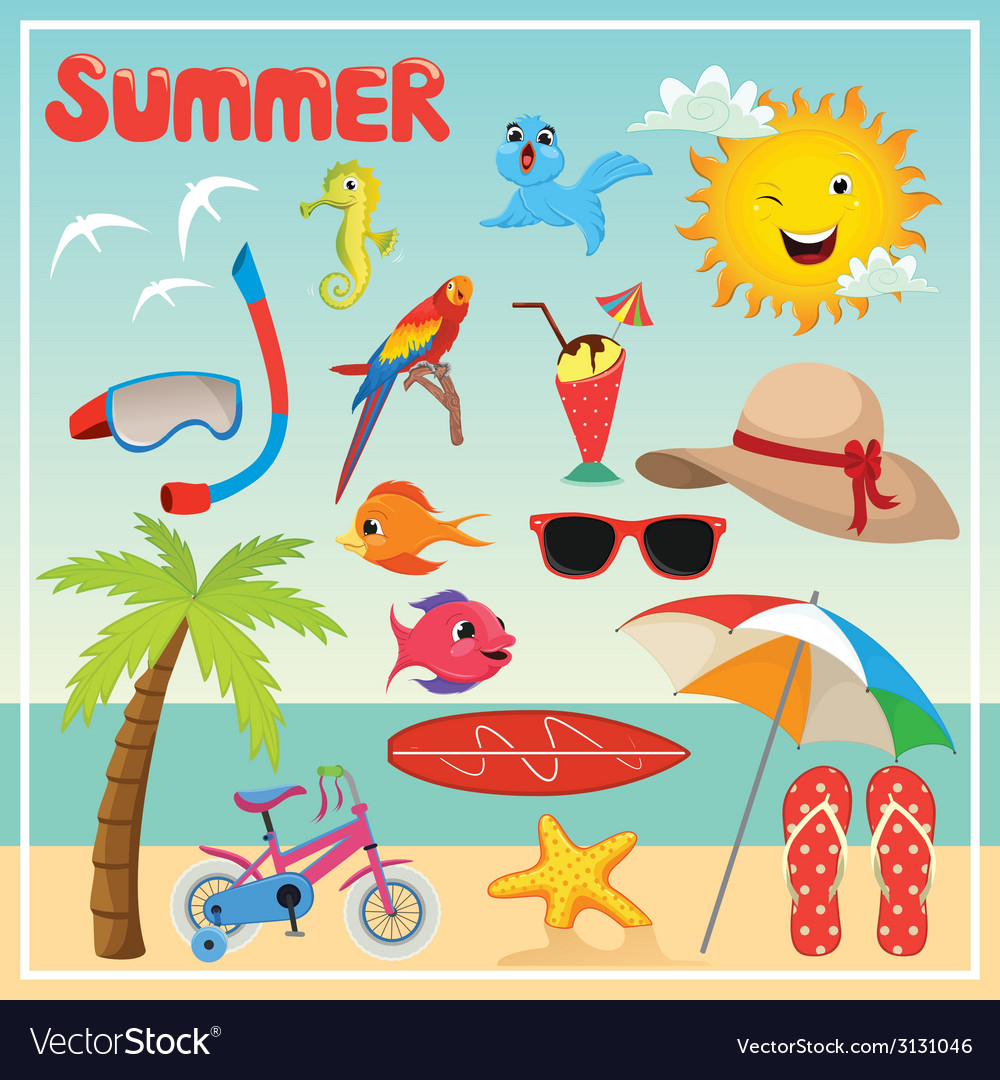 Set of summer elements and vector | Price: 1 Credit (USD $1)