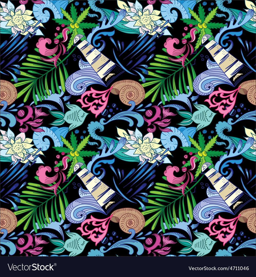 Tropical pattern on black vector   Price: 1 Credit (USD $1)