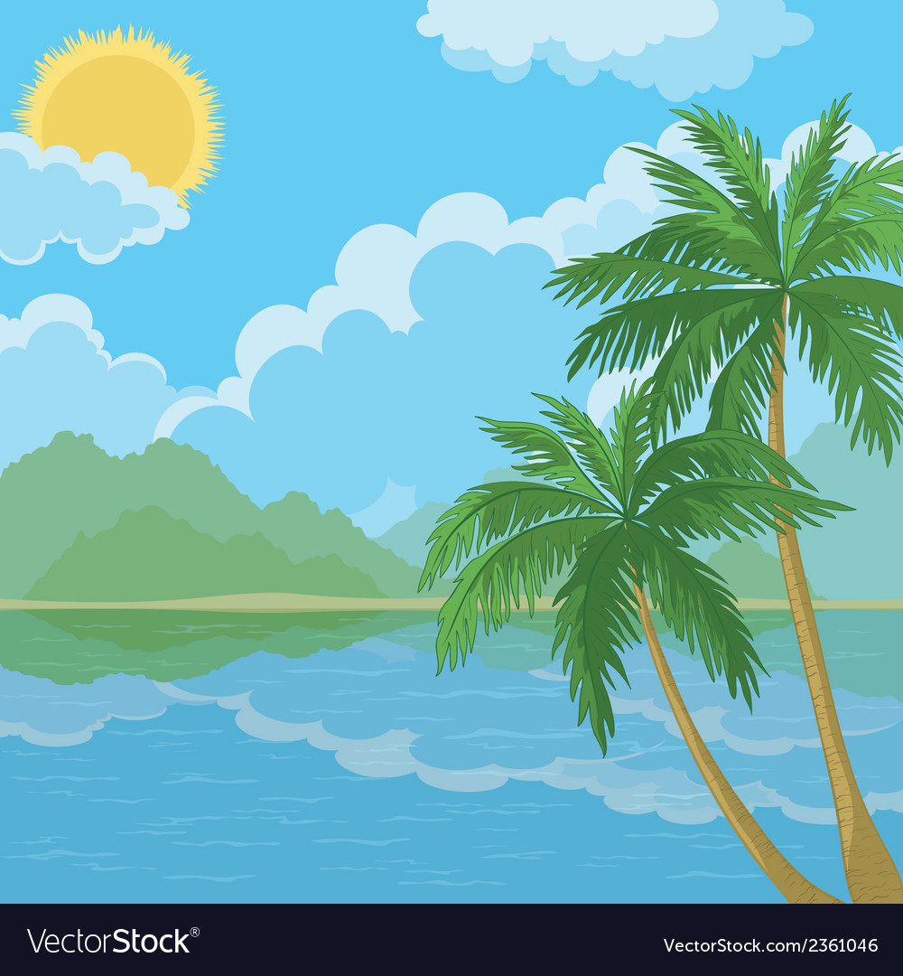 Tropical sea landscape with palm trees vector | Price: 1 Credit (USD $1)