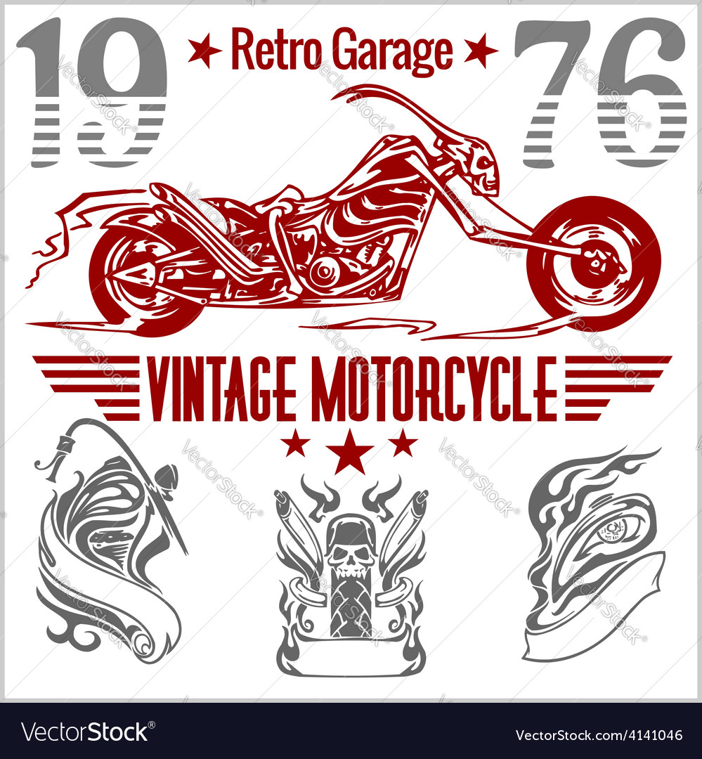 Vintage motorcycle labels badges and design vector | Price: 3 Credit (USD $3)