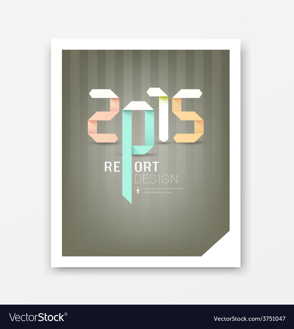 Cover report origami paper 2015 year vector | Price: 1 Credit (USD $1)
