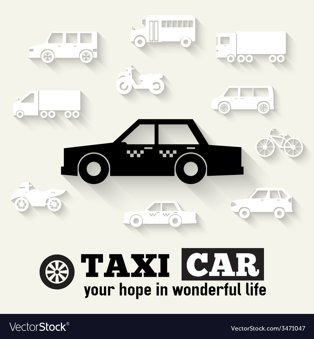 Flat taxi car background concept tamplate for web vector | Price: 1 Credit (USD $1)