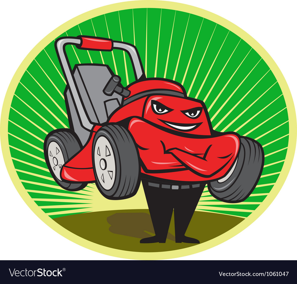 Lawn mower man cartoon oval vector | Price: 1 Credit (USD $1)