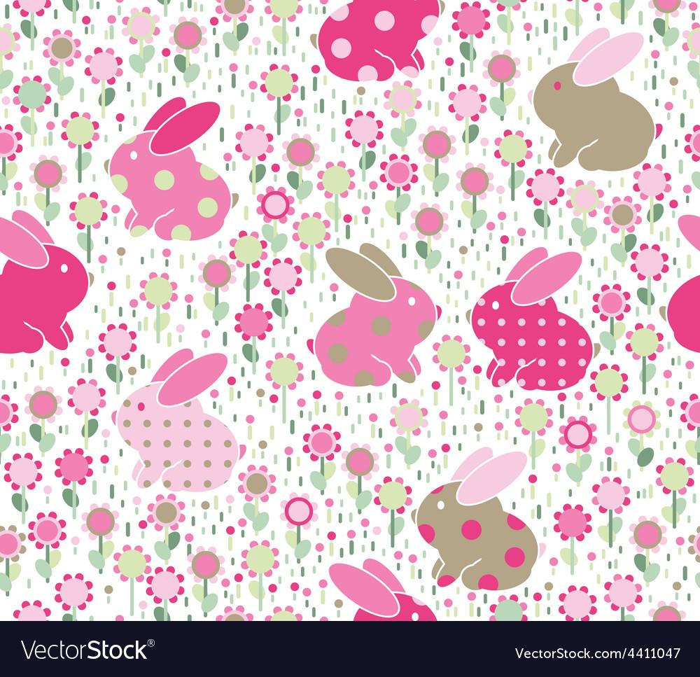 Rabbits flowers vector | Price: 1 Credit (USD $1)