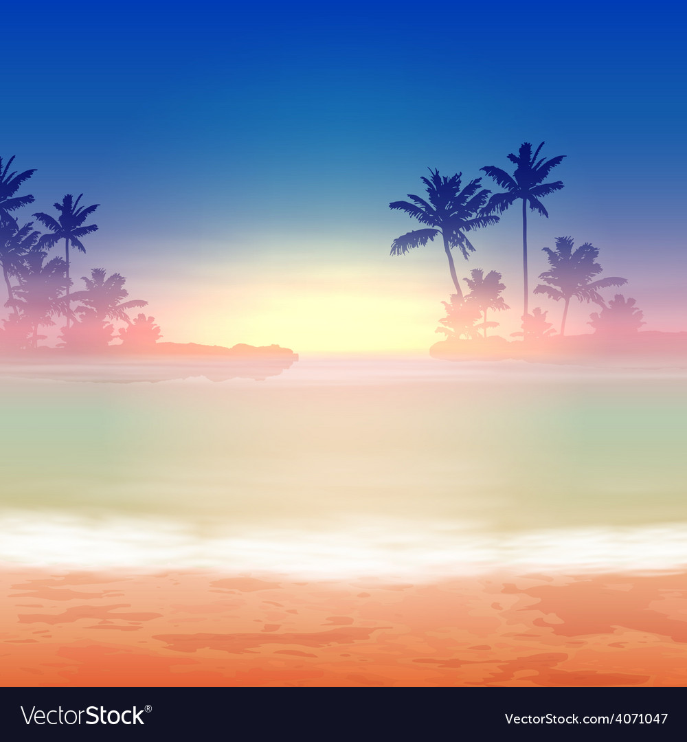 Sea sunset with palm trees vector | Price: 1 Credit (USD $1)