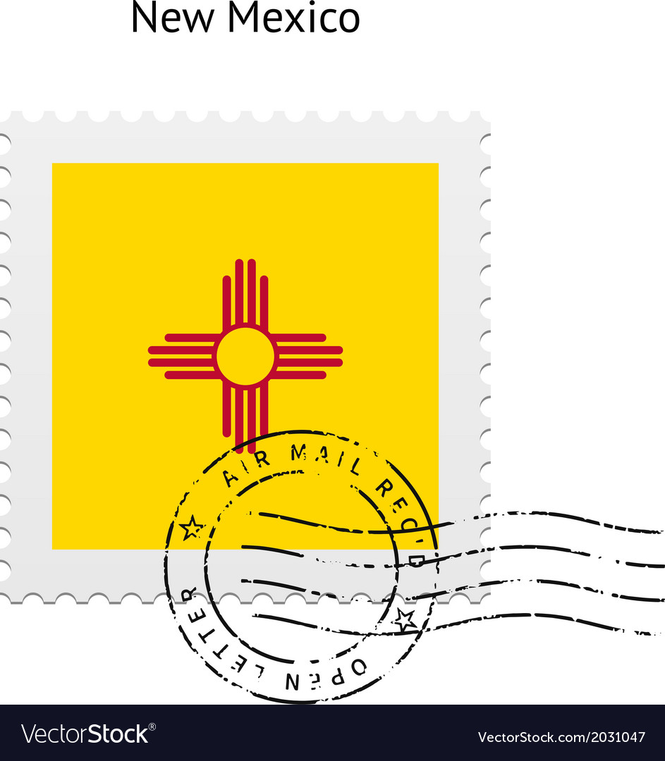 State of new mexico flag postage stamp vector | Price: 1 Credit (USD $1)