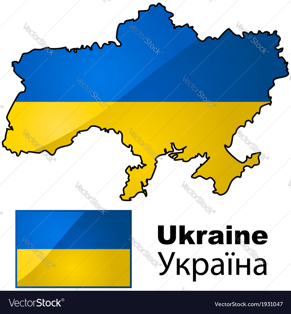 Ukraine map and flag vector | Price: 1 Credit (USD $1)
