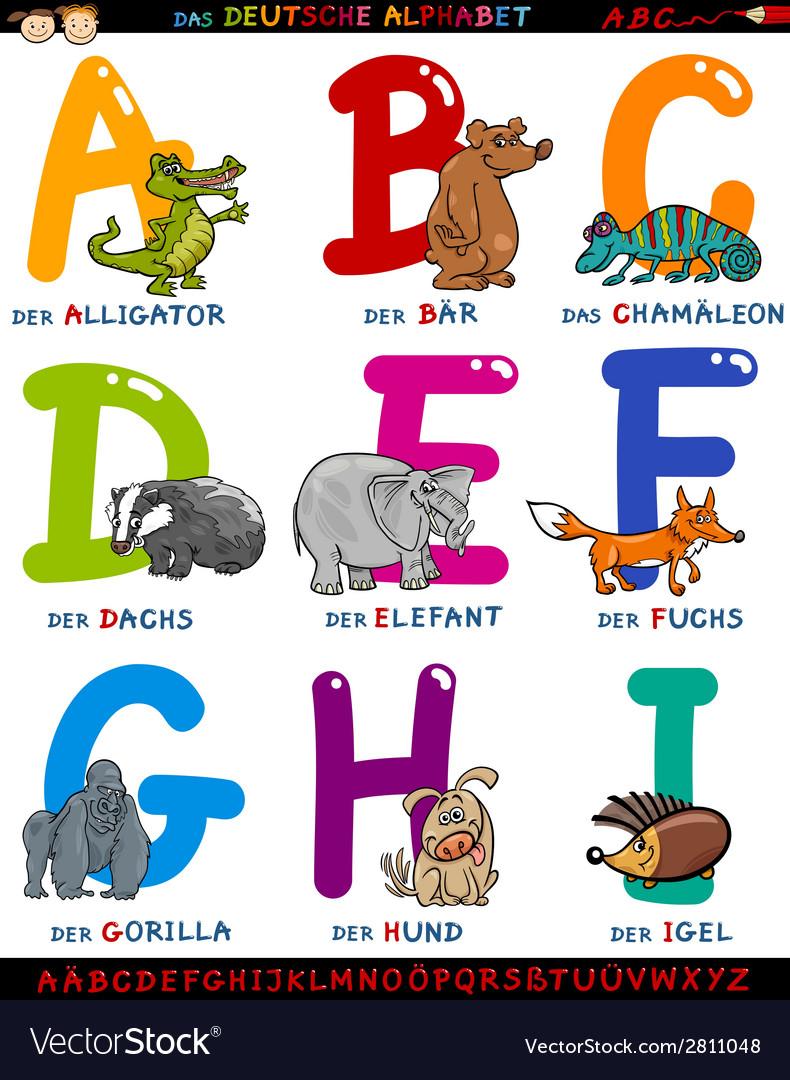Cartoon german alphabet with animals vector | Price: 1 Credit (USD $1)