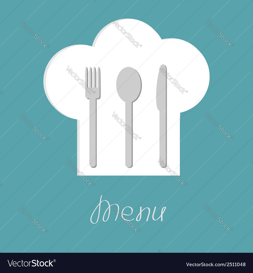 Chef hat with fork spoon and knife inside menu vector | Price: 1 Credit (USD $1)