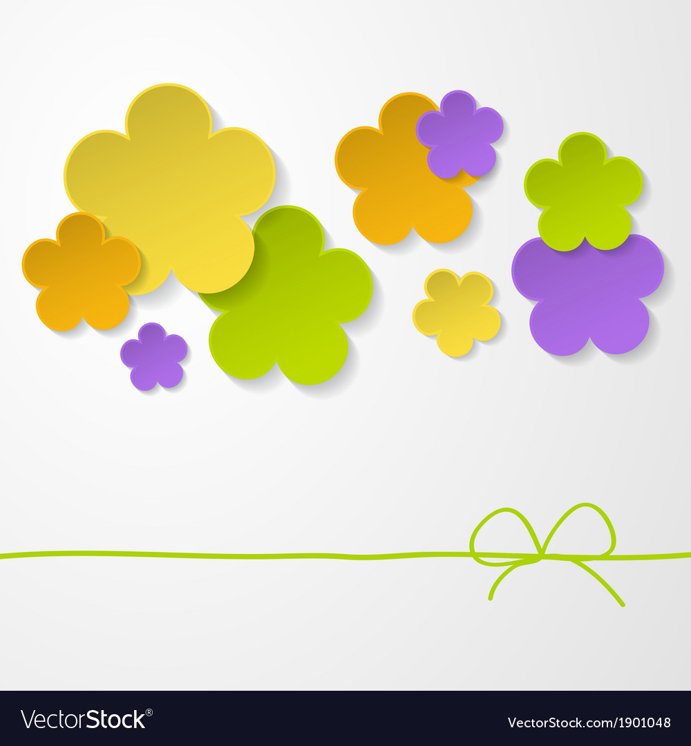 Color paper flowers on the white background vector | Price: 1 Credit (USD $1)