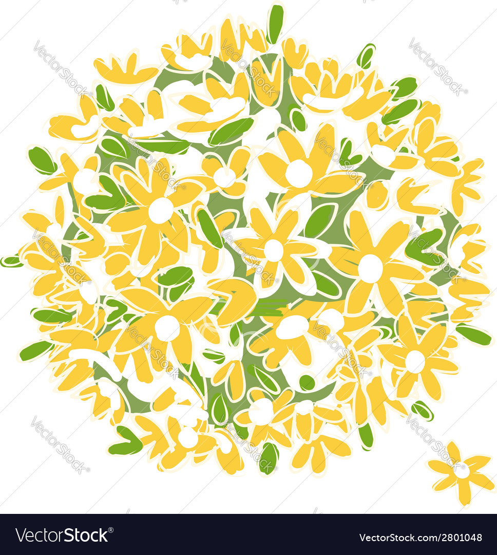 Floral yellow bouquet for your design vector | Price: 1 Credit (USD $1)