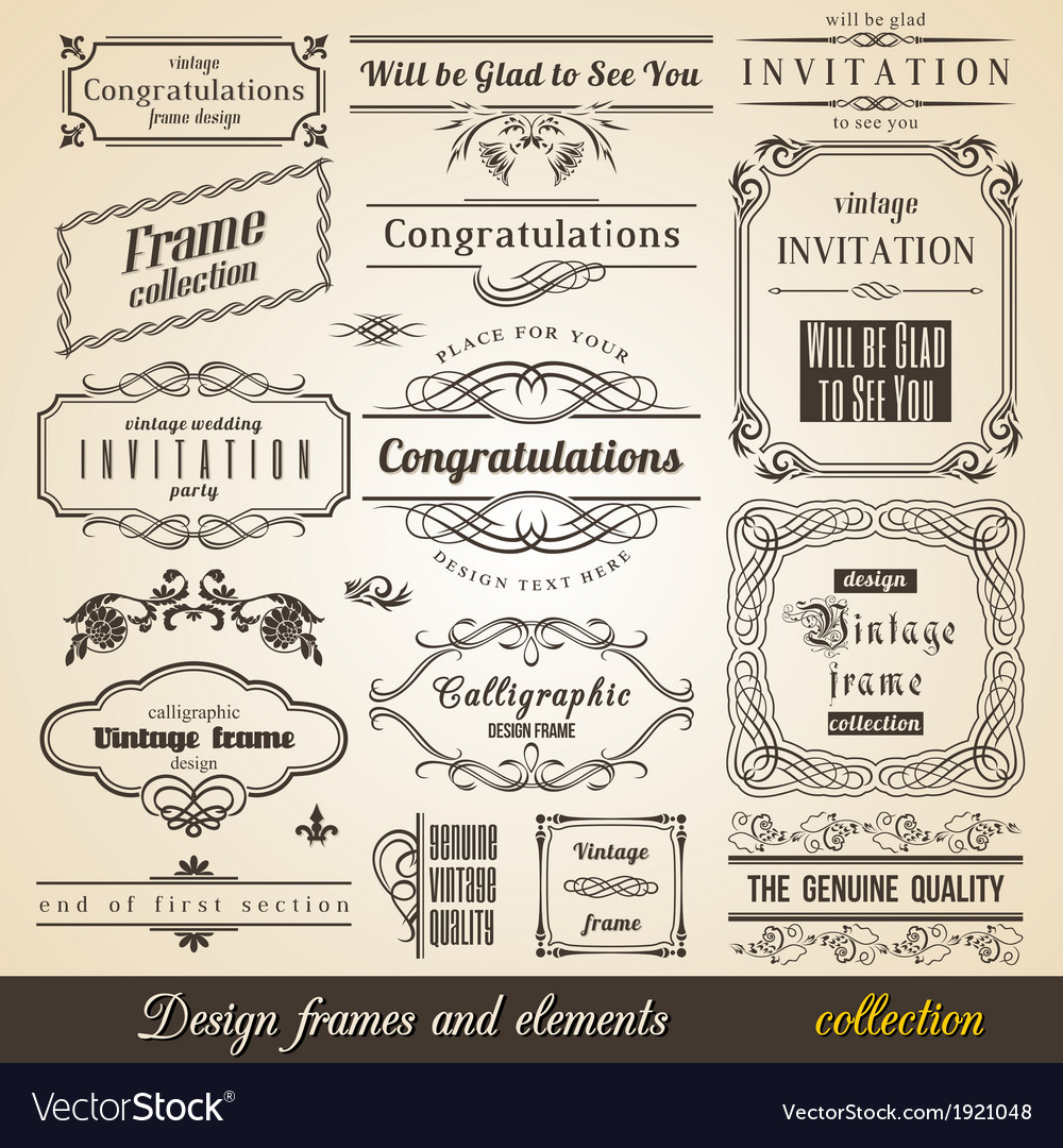 Flourish border corner and frame collection vector | Price: 1 Credit (USD $1)