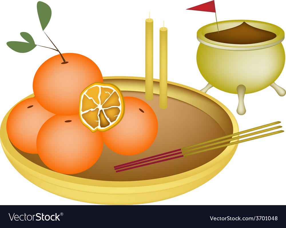 Golden orange fruits for new year worship vector | Price: 1 Credit (USD $1)