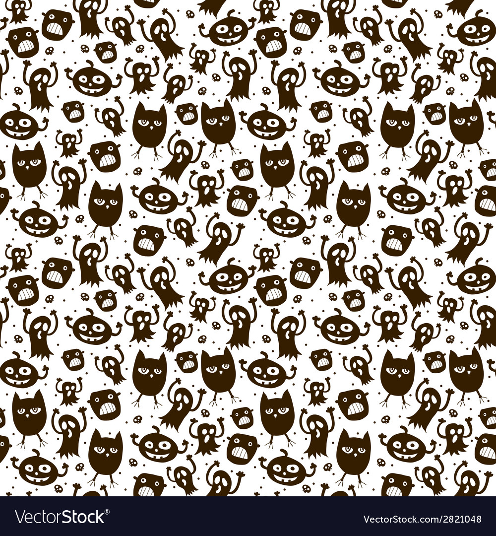 Halloween background black and white seamless vector | Price: 1 Credit (USD $1)